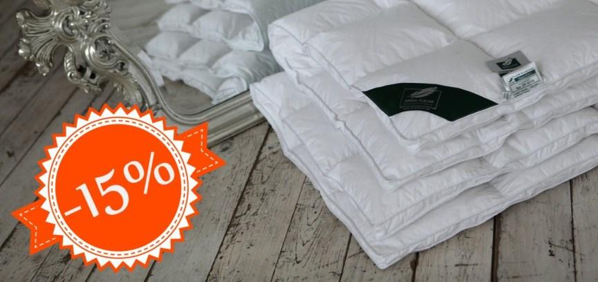Скидка 15% на подушки и одеяла Anna Flaum