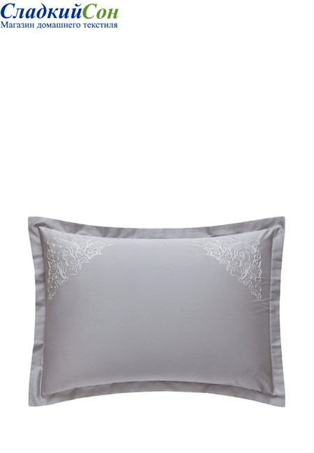 Наволочка с запахом CASTELLO BOVI 50x70 100% хлопок сатин серый - фото 100341