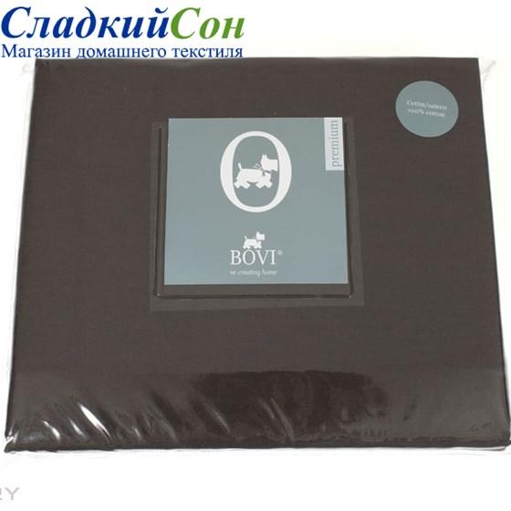Простыня на резинке Luxberry сатин 160*200*30 горький шоколад - фото 41087