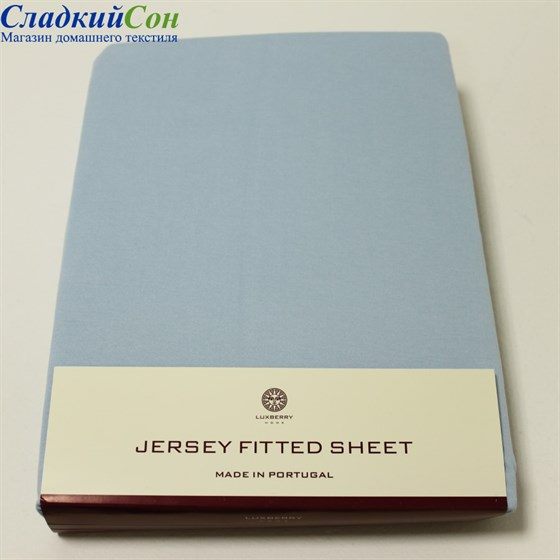 Простыня на резинке Luxberry трикотаж 180*200*30 голубая - фото 41243