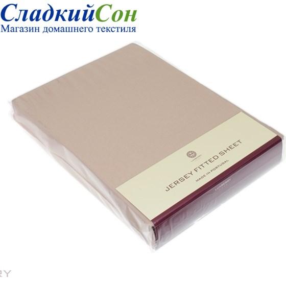 Простыня на резинке Luxberry трикотаж 180*200*30 бежевая - фото 41256