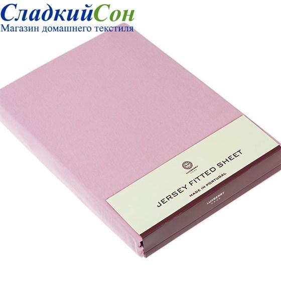 Простыня на резинке Luxberry трикотаж 200*220*30 розовая - фото 41267