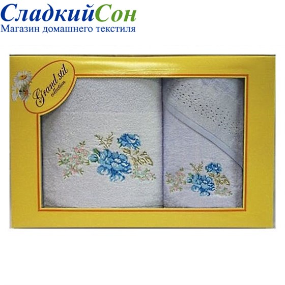 Набор полотенец Grand Stil Виола голубой - фото 58739
