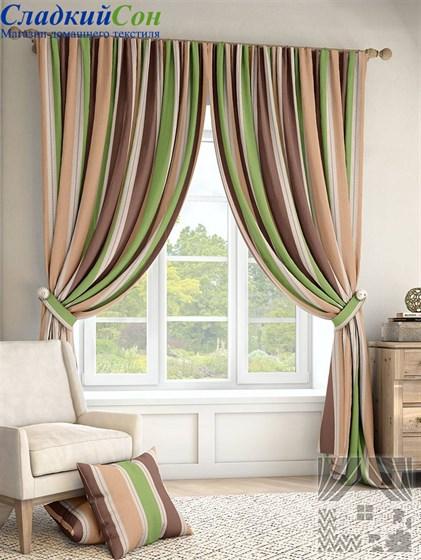 Комплект штор ТомДом Ален зеленый - фото 61362