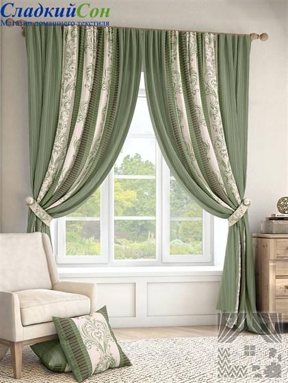 Комплект штор ТомДом Иниц зеленый - фото 61368