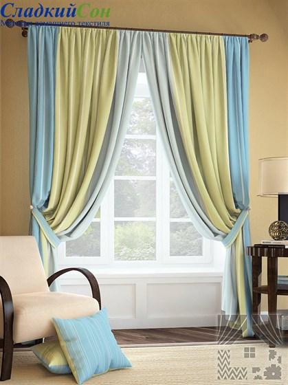 Комплект штор ТомДом Годс голубой - фото 61380