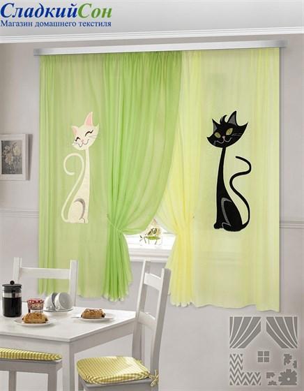 Комплект штор ТомДом Шура желто-зеленый - фото 61431