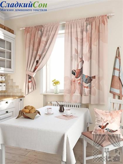 Комплект штор ТомДом Допсис бежево-розовый - фото 61560