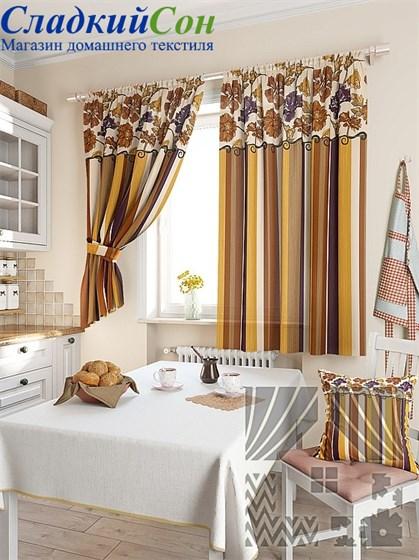 Комплект штор ТомДом Абель коричневый - фото 61568