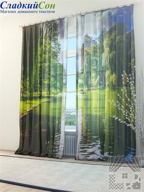 Тюль ТомДом Зеленый пруд - фото 72067