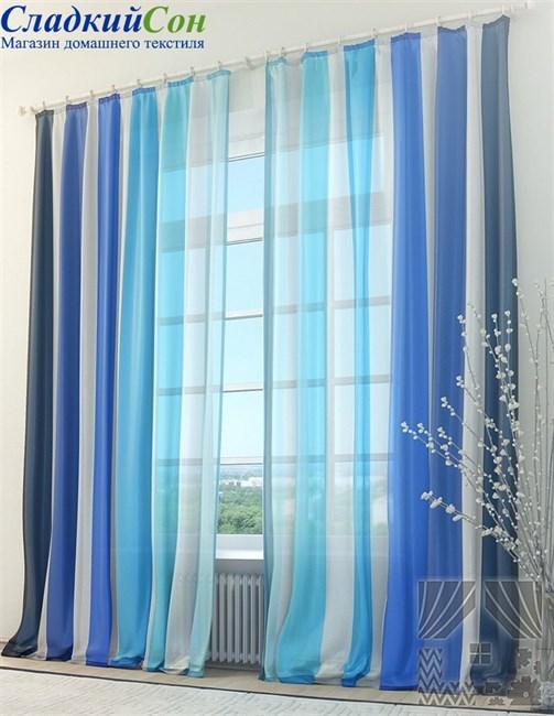 Тюль ТомДом Голубые страйпс - фото 72075