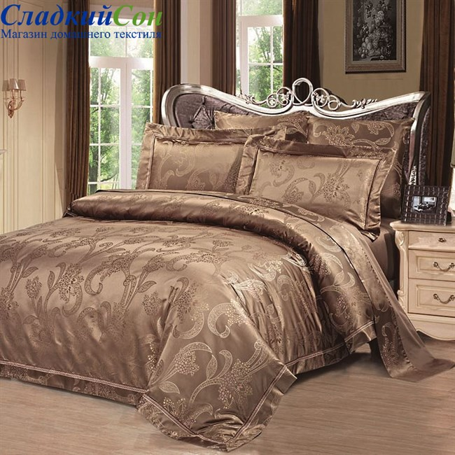 Комплект постельного белья Asabella 665-6 Евро коричневый - фото 73127