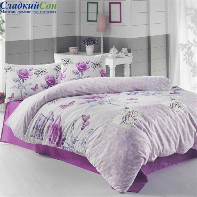 Комплект постельного белья Irina Home IH-27-3 Sienna Lila Евро сиреневый - фото 74011