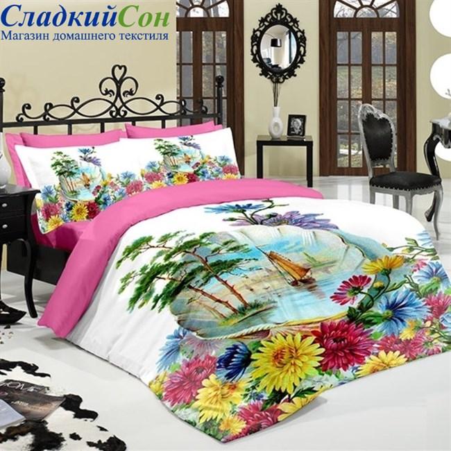 Комплект постельного белья Wall's Dolce DM-09-3 Евро розовый - фото 74152