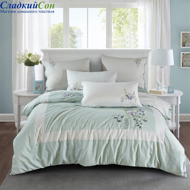 Комплект постельного белья Asabella 473-6 Евро светло-зеленый - фото 90919