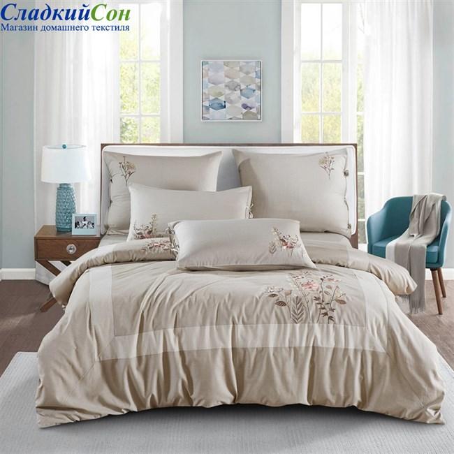 Комплект постельного белья Asabella 474-6 Евро бежевый - фото 90928