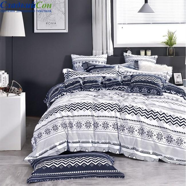 Комплект постельного белья Asabella 1472-4S 1,5-спальный синий - фото 95788