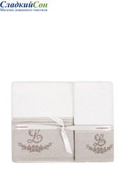 Полотенце с вышивкой LOVELY NEW luxberry 100% хлопок 550г/м2 70x140 белый/натуральный