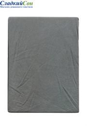 Простыня на резинке 180x200x30 BOVI 100% хлопок софт сатин серо-зеленый