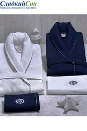 Набор для мужчин MARINE: Вафельный халат и 2 полотенца (EMD)