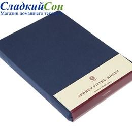 Простыня на резинке Luxberry трикотаж 180*200*30 синяя