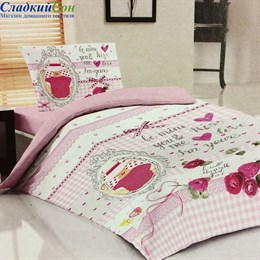 Комплект постельного белья Teen LB-05-1 Kiss 1,5-спальный розовый