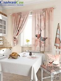 Комплект штор ТомДом Допсис бежево-розовый