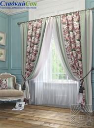 Комплект штор ТомДом Орга розово-зеленый