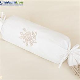 Наволочка Luxberry для валика ROSE, цвет: белый/натуральный