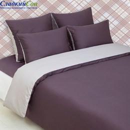 Наволочка Luxberry DUETTO 4 70*70, цвет: баклажан/серо-бежевый