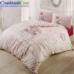 Комплект постельного белья Irina Home IH-06-1 True Love 1,5-спальный бежевый