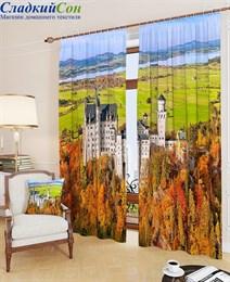 Комплект фотоштор ТомДом Замок баварского короля осенью