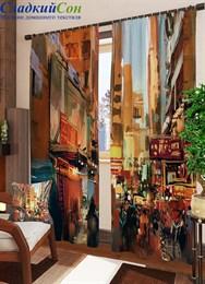 Комплект фотоштор ТомДом Красочная живопись города