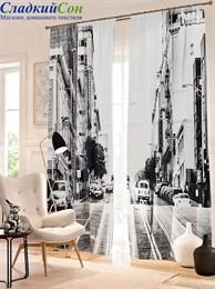 Комплект фотоштор ТомДом Черно-белый Сан-Франциско
