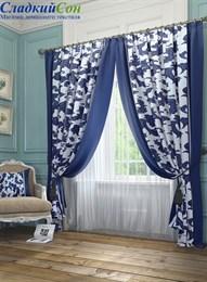 Комплект штор ТомДом Рубе сине-белые