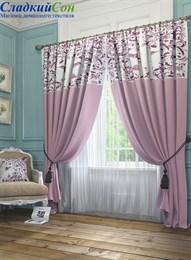 Комплект штор ТомДом Агно розовый