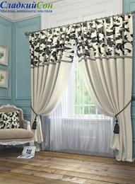 Комплект штор ТомДом Блуа бело-черный