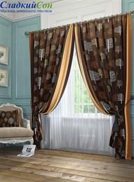 Комплект штор ТомДом Шарши коричневый