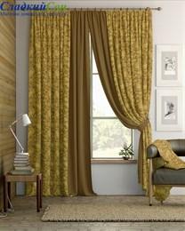 Комплект штор ТомДом Пайд коричнево-золотой