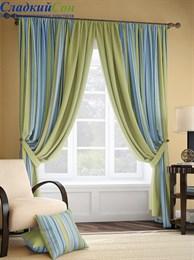 Комплект штор ТомДом Мариям зелено-голубой