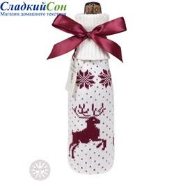 Декоративный чехол на бутылку Luxberry Олень белый/бордо