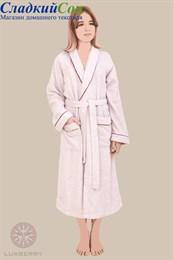 Халат Luxberry Basic, р-р: L, цвет: розовая пудра/бордовый