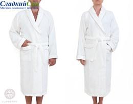Халат Luxberry Basic, р-р: XL, цвет: белый/натуральный