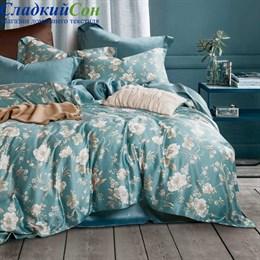 Комплект постельного белья Asabella 1301-4S 1,5-спальный морская волна