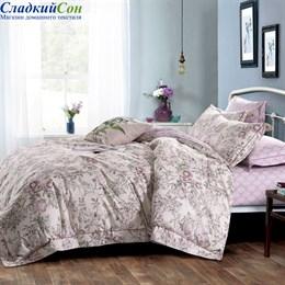 Комплект постельного белья Asabella 1363-6/160 с простыней на резинке Евро розовый