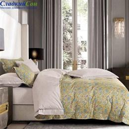 Комплект постельного белья Asabella 1364-6/160 с простыней на резинке Евро горчичный