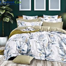 Комплект постельного белья Asabella 1400-6/160  с простыней на резинке Евро белый