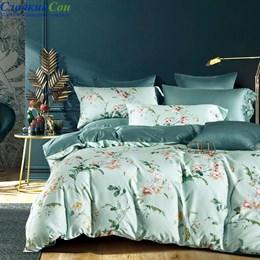 Комплект постельного белья Asabella 1440-6/180 с простыней на резинке Евро мятный