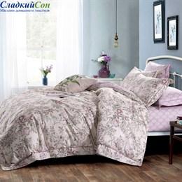 Комплект постельного белья Asabella 1363-6/180 с простыней на резинке Евро розовый