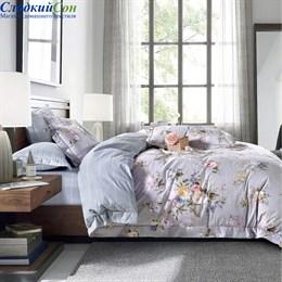 Комплект постельного белья Asabella 1366-6/180 с простыней на резинке Евро серый